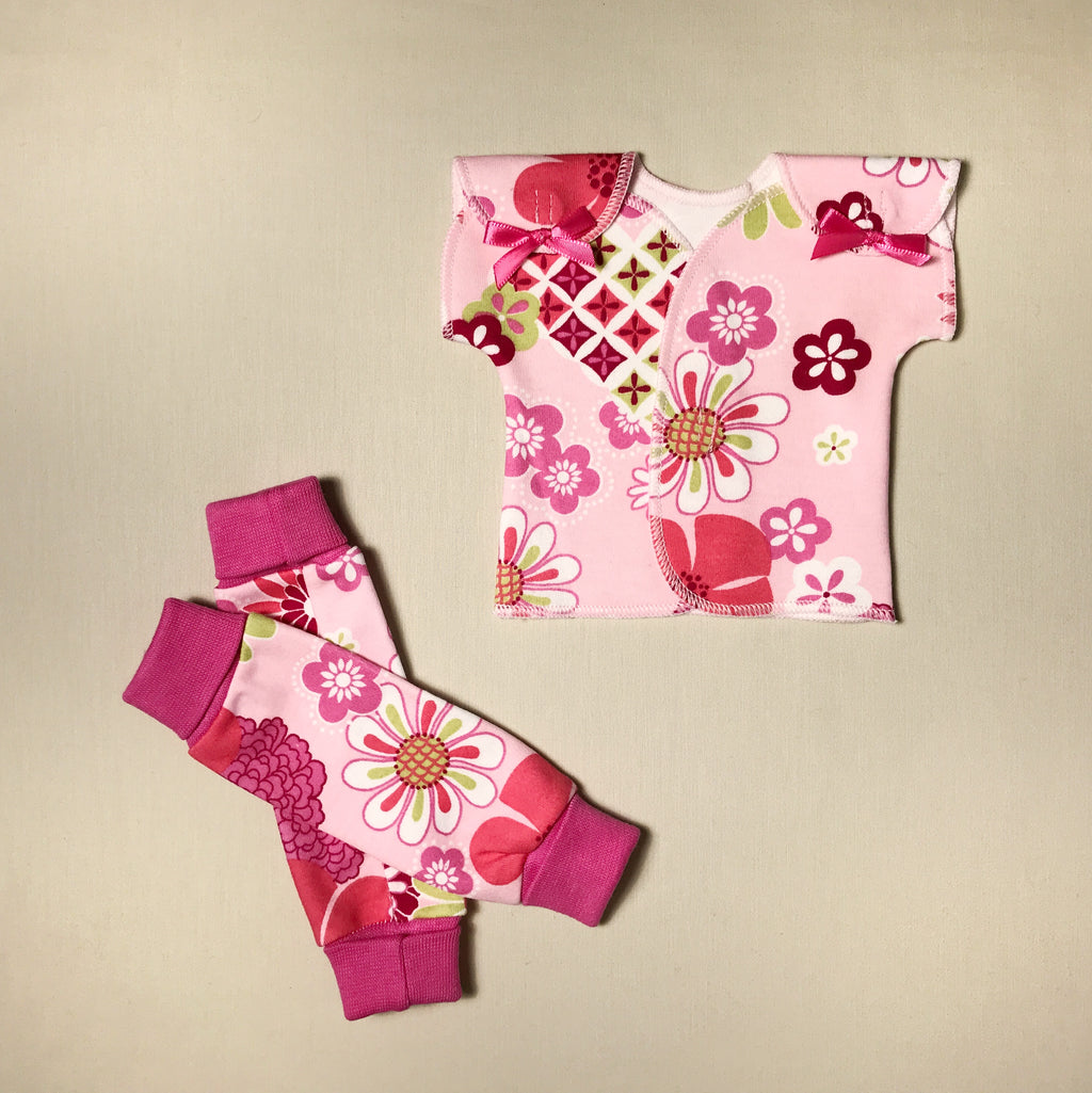 NICU Friendly Retro Flowers leg warmers preemie baby infant clothing with Retro Flowers NICU t-shirt
