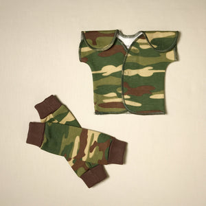NICU Friendly Camouflage leg warmers preemie baby with NICU Friendly Camouflage t-shirt