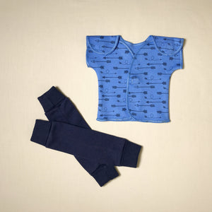 NICU Friendly navy leg warmers preemie baby with NICU Friendly Deep Blue Arrows t-shirt