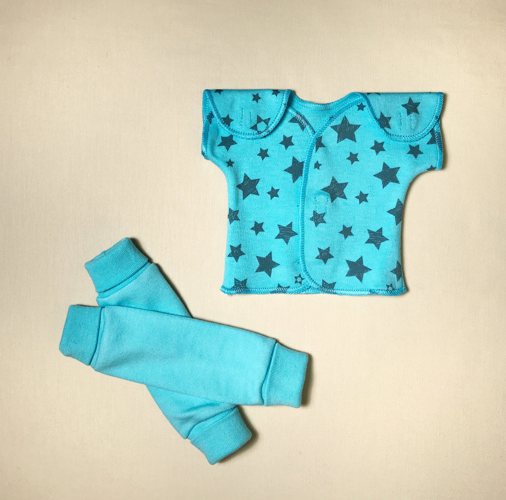 NICU Friendly turquoise teal leg warmers preemie baby infant clothing with Turquoise Stars NICU t-shirt