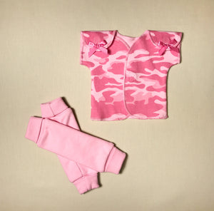 NICU Friendly pink leg warmers preemie baby infant clothing with Pink Camo NICU t-shirt