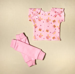 NICU Friendly pink leg warmers preemie baby infant clothing with Princess Castle  NICU t-shirt