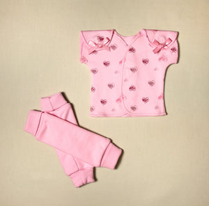 NICU Friendly pink leg warmers preemie baby infant clothing with Pink Hearts NICU t-shirt