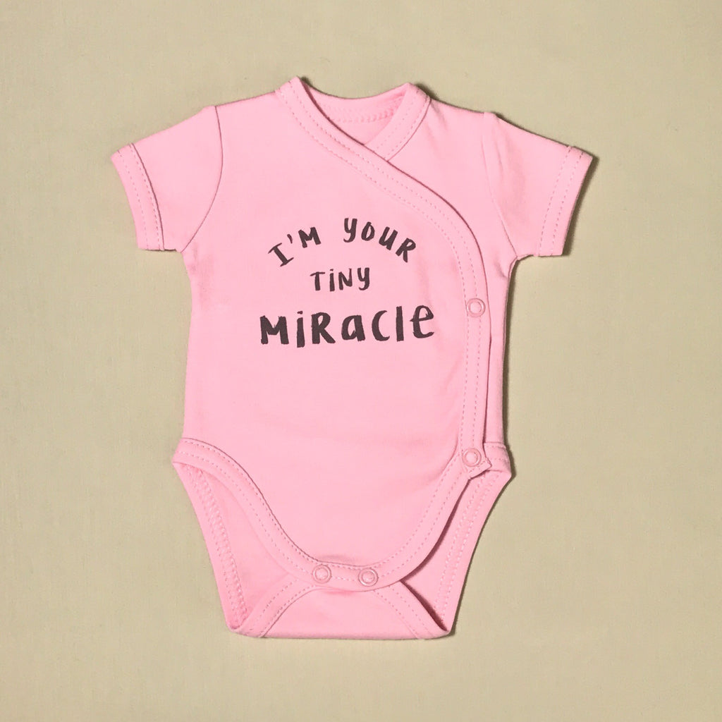 NICU Friendly Graphic Kimono Bodysuit I'm Your Tiny Miracle Made in Canada