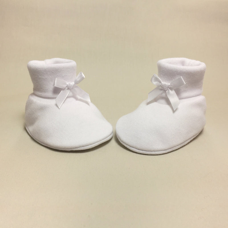white cotton baby booties