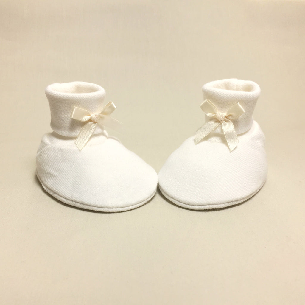 cream cotton baby booties