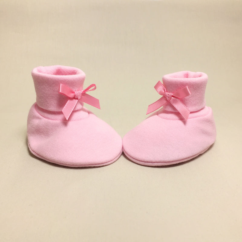 pink cotton baby booties