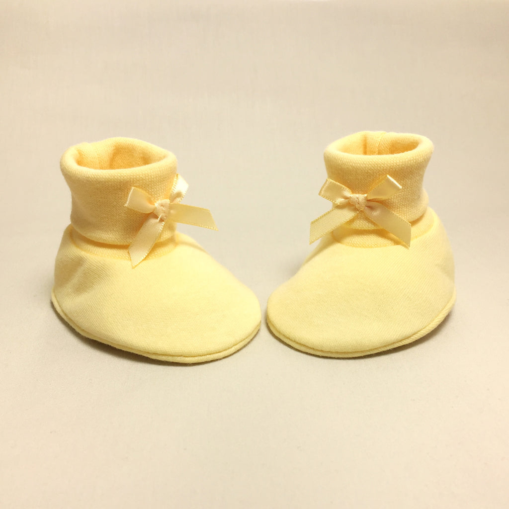 yellow cotton baby booties