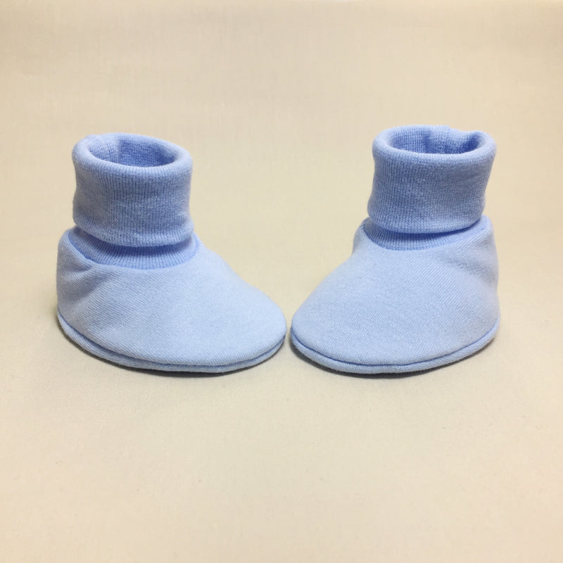 blue baby booties made from cotton