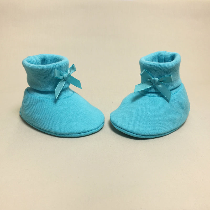 turquoise cotton baby booties