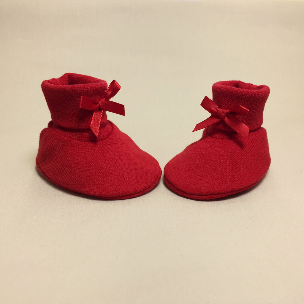 red cotton baby booties