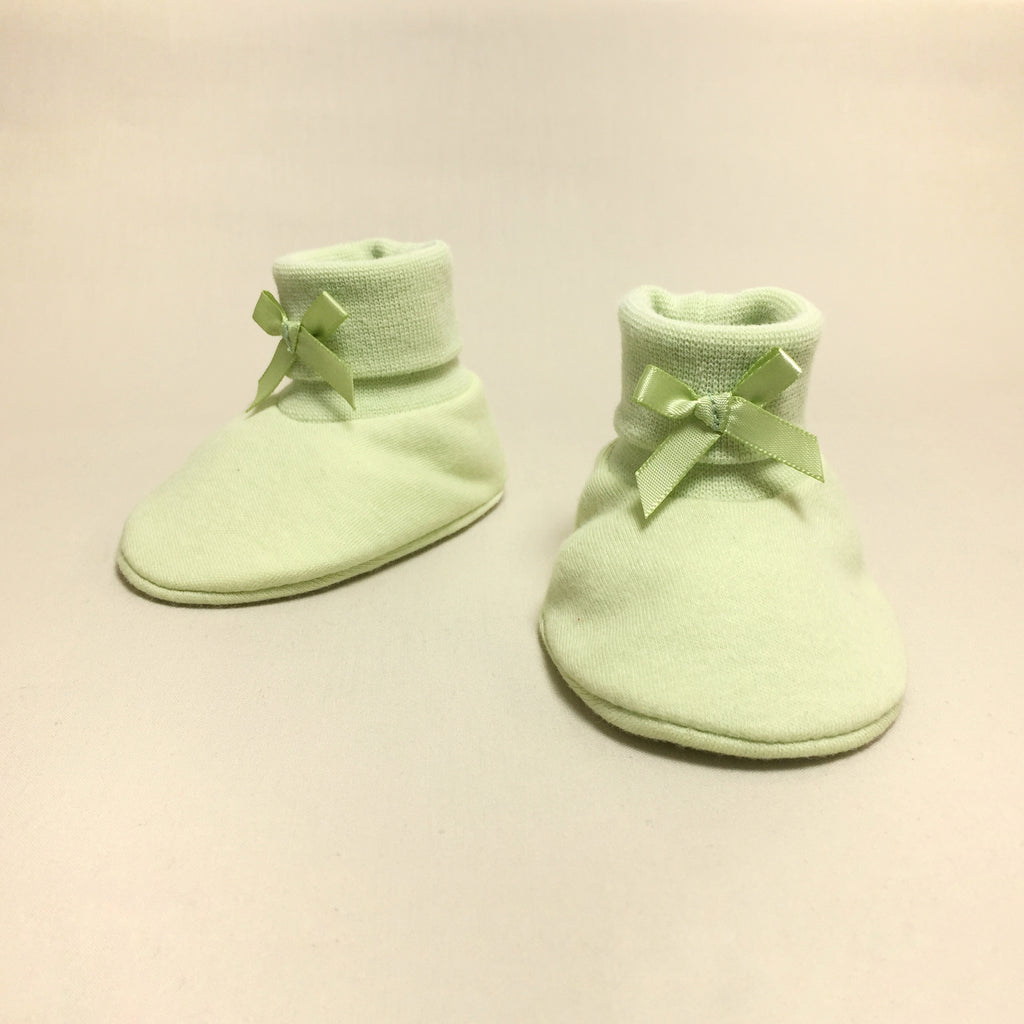 green cotton baby booties
