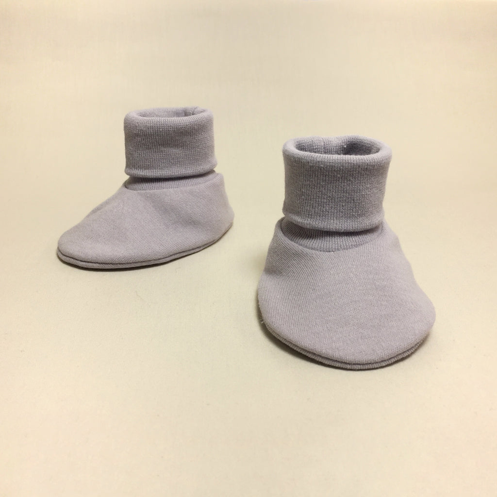silver cotton baby booties
