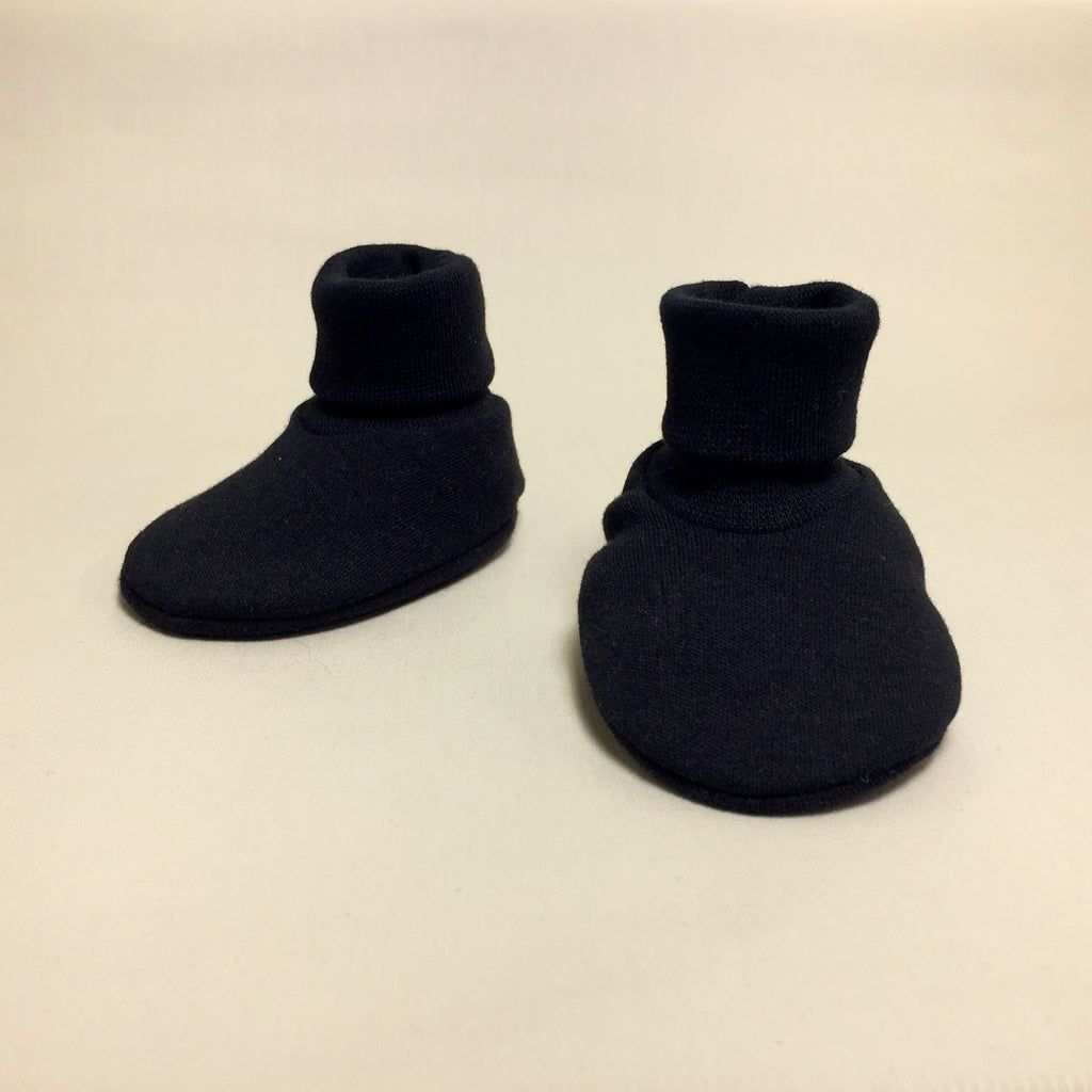 black baby booties made from cotton