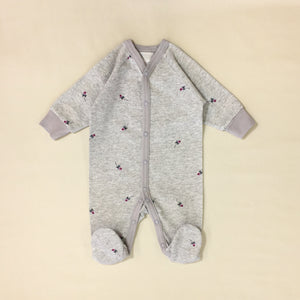 grey baby sleeper with roses