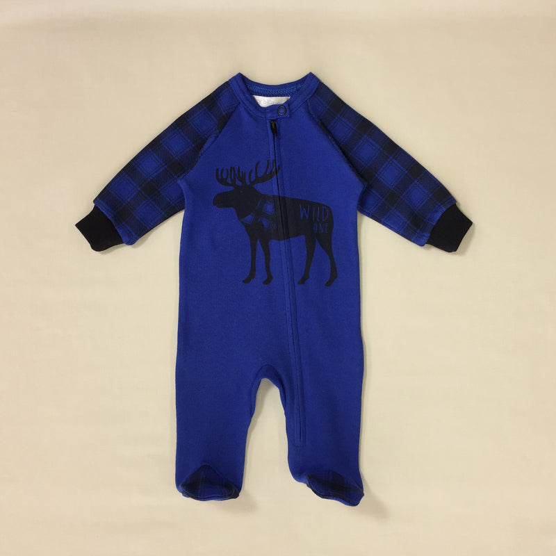 Wild One Royal Blue Zip Footie with Moose