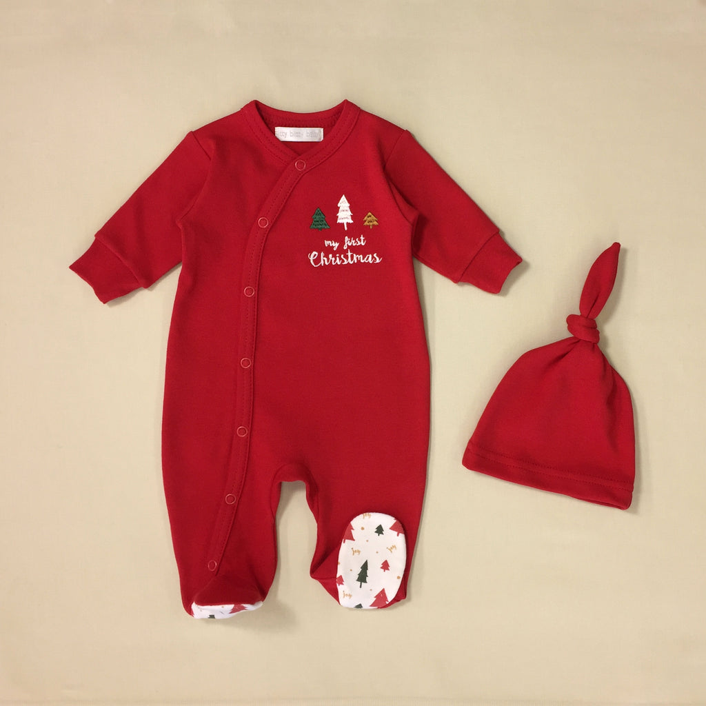 My First Christmas red embroidered footie & hat Set