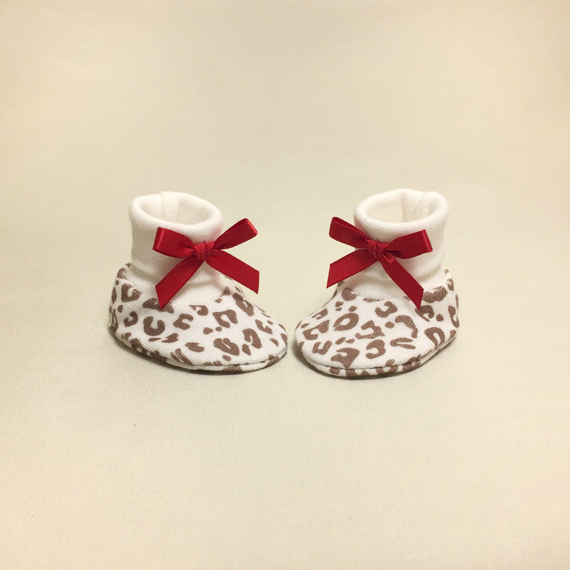 NICU Cheetah cotton preemie baby booties socks