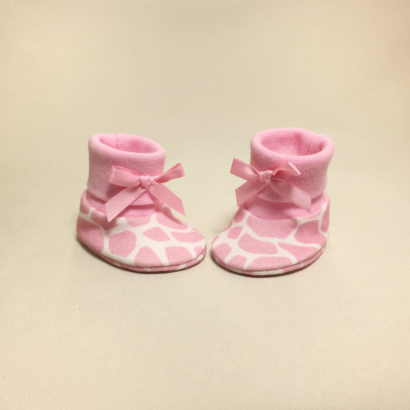 NICU Giraffe Pink cotton baby booties
