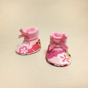 NICU Retro Flower Pink cotton preemie baby booties socks