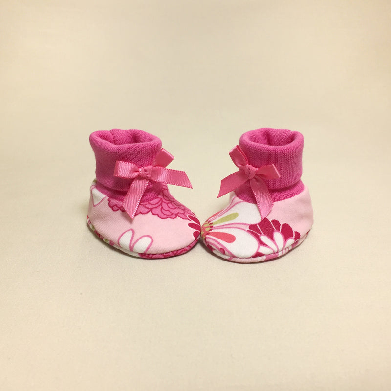 NICU Retro Flower Fuchsia cotton preemie baby booties socks