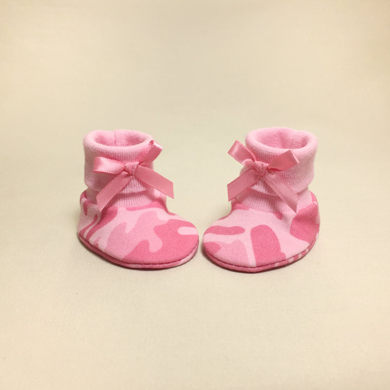 NICU Pink Camouflage cotton baby booties