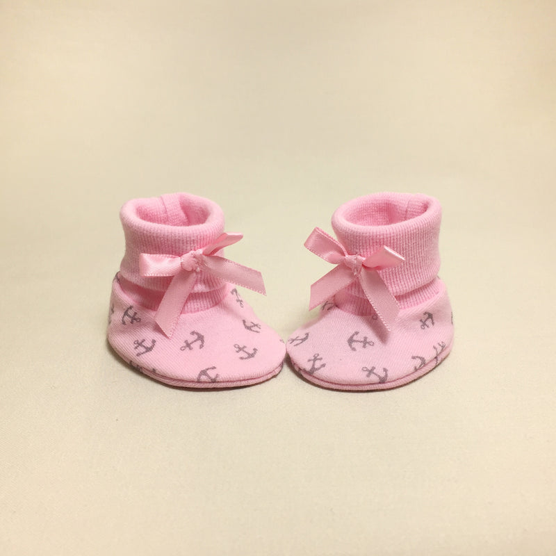 NICU Pink Anchors cotton preemie baby booties socks