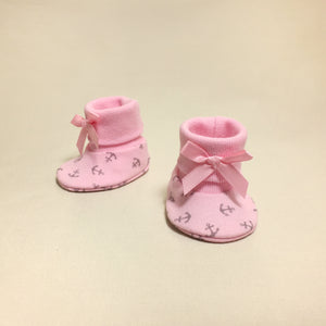NICU Pink Anchors cotton baby booties