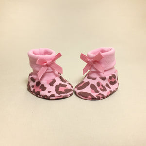 NICU Leopard cotton baby booties