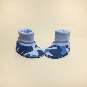 NICU Blue Camouflage cotton baby booties