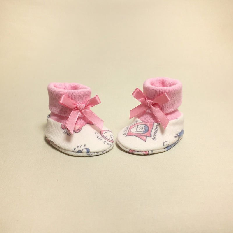 NICU Teddy Pink cotton preemie baby booties socks