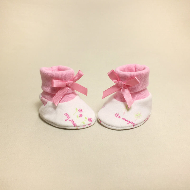 NICU Princess Garden cotton baby booties - pink