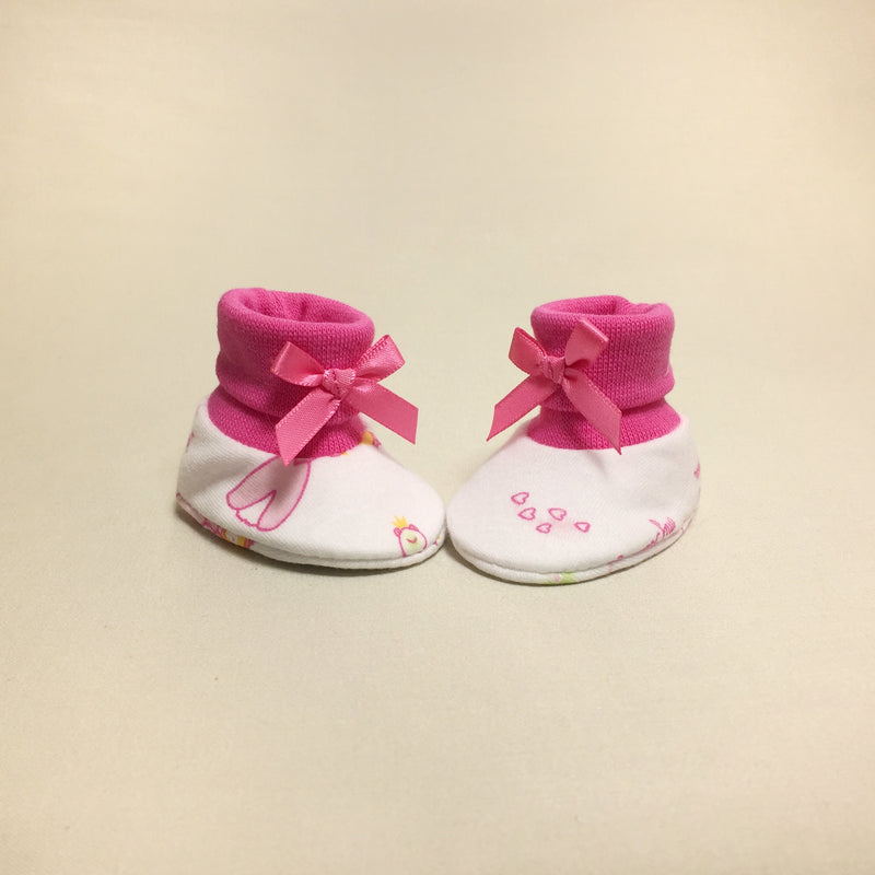 NICU Princess Garden cotton baby booties - fuchsia