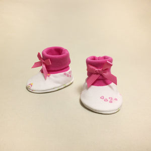 NICU Princess Garden Fuchsia cotton preemie baby booties socks