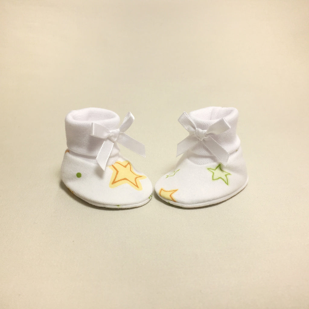 NICU Twinkle cotton baby booties - white