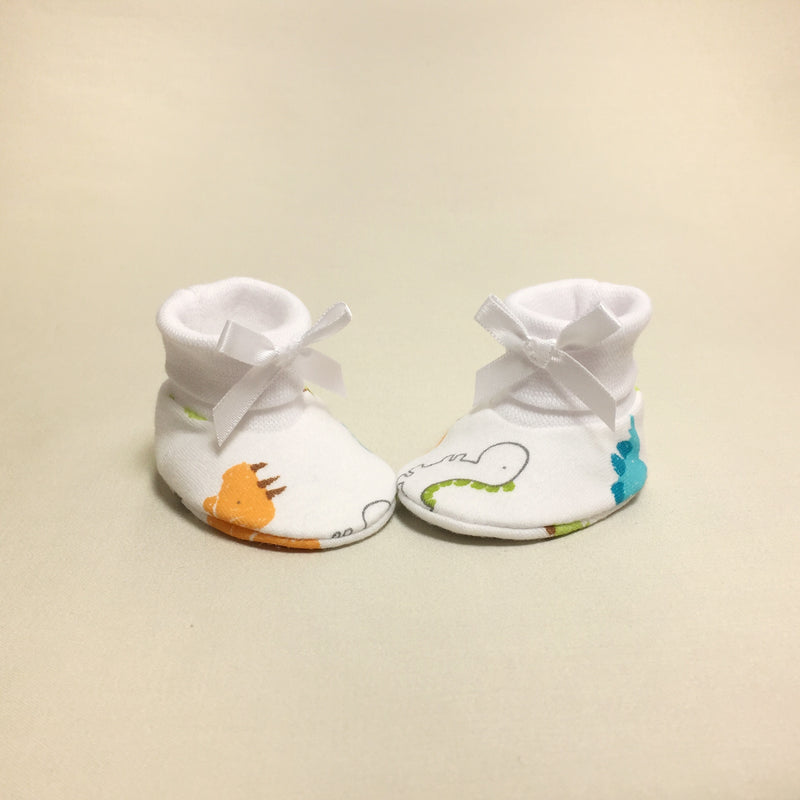 NICU dinosaur cotton baby booties - white