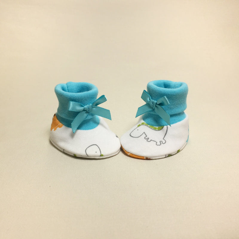 NICU Dino Turquoise cotton preemie baby booties socks