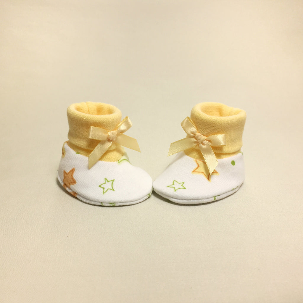 NICU Twinkle cotton baby booties - yellow