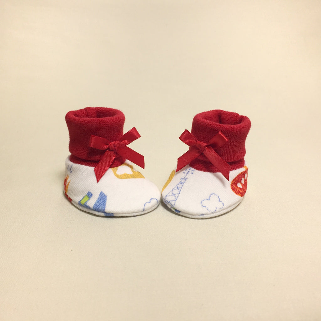 NICU Landing Zone cotton baby booties - Red