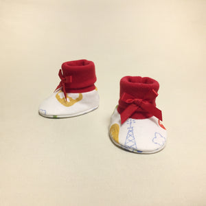 NICU Landing Zone Red cotton preemie baby booties socks