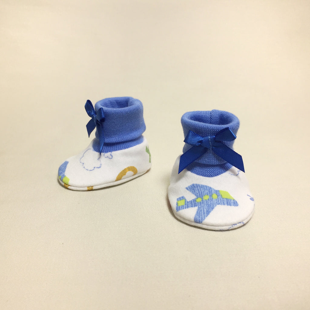 NICU Landing Zone cotton baby booties - deep blue