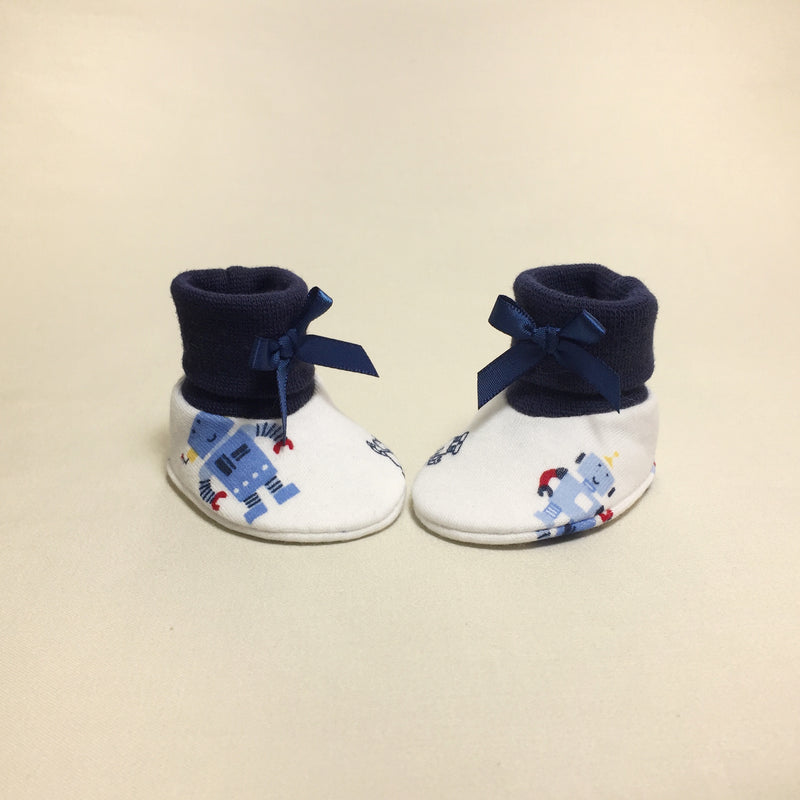 NICU Robots Navy cotton preemie baby booties socks
