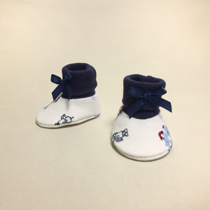 NICU Robots cotton baby booties - navy