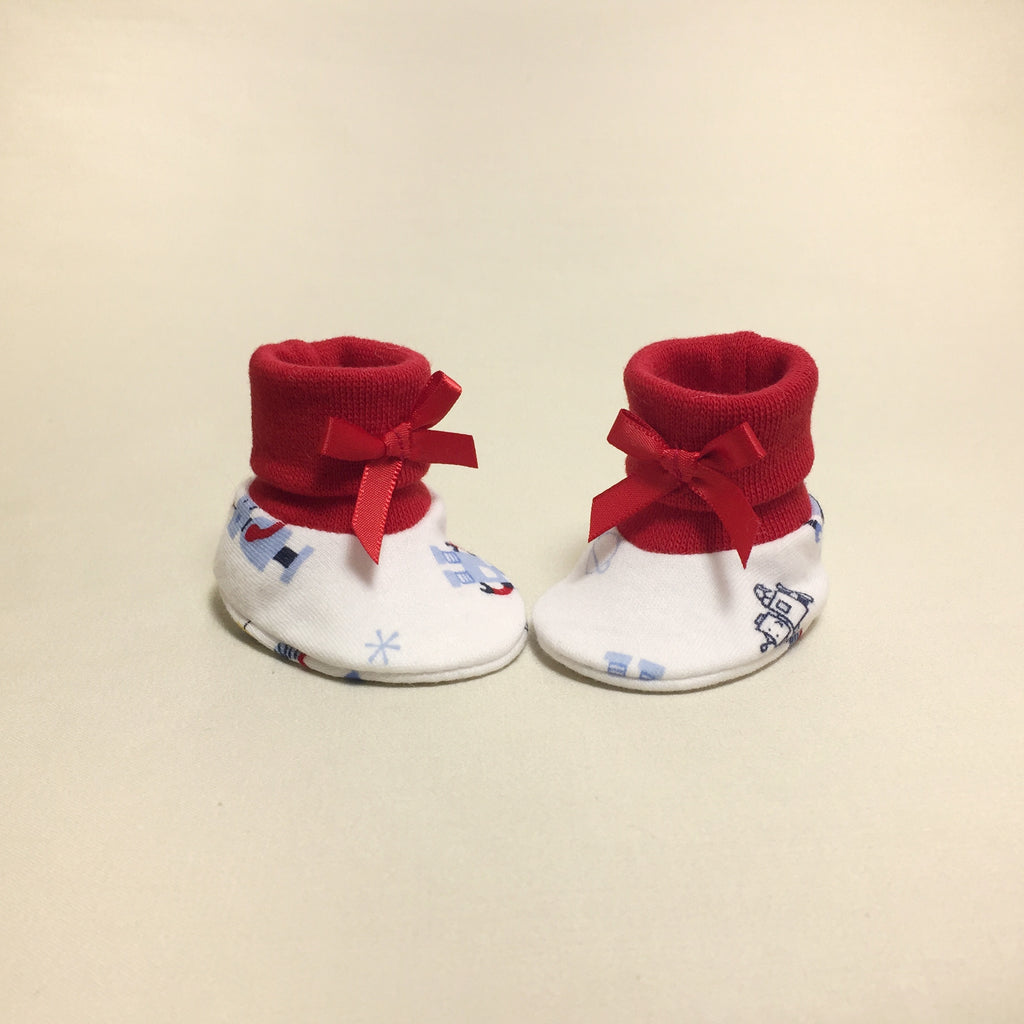 NICU Robots cotton baby booties - red