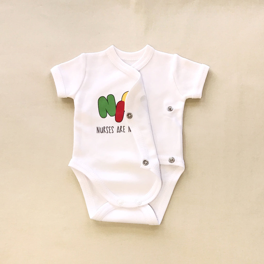 NICU Friendly Graphic Kimono Bodysuit NICU Nurses are my Heroes Made in Canada