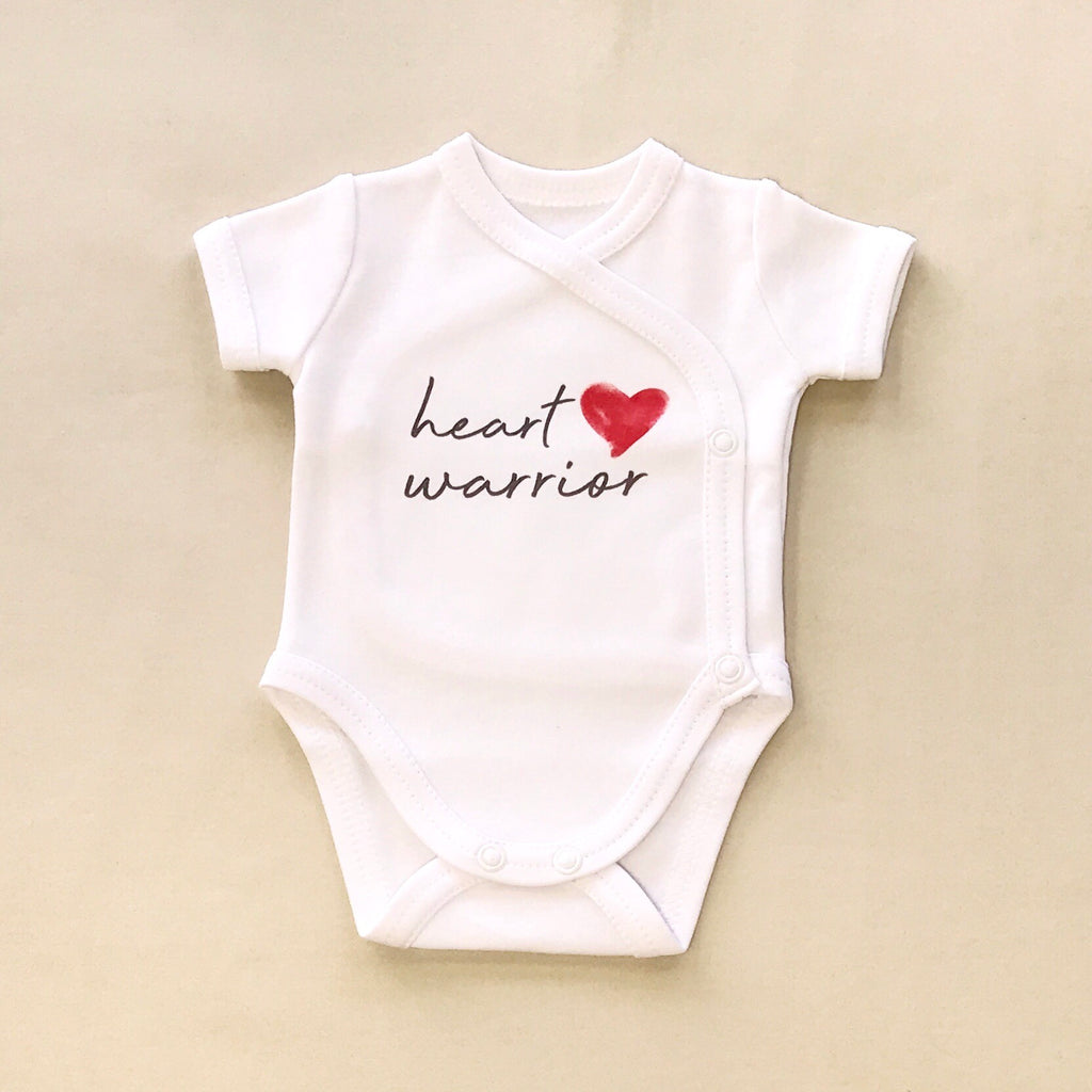 NICU Friendly Graphic Kimono Bodysuit Heart Warrior Made in Canada