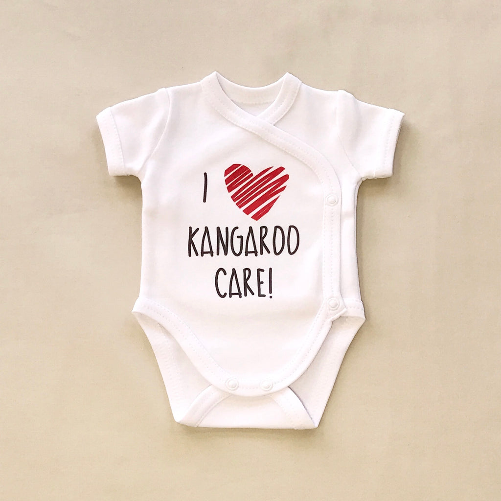 NICU Friendly Graphic Kimono Bodysuit I Love Kangaroo Care Made in Canada