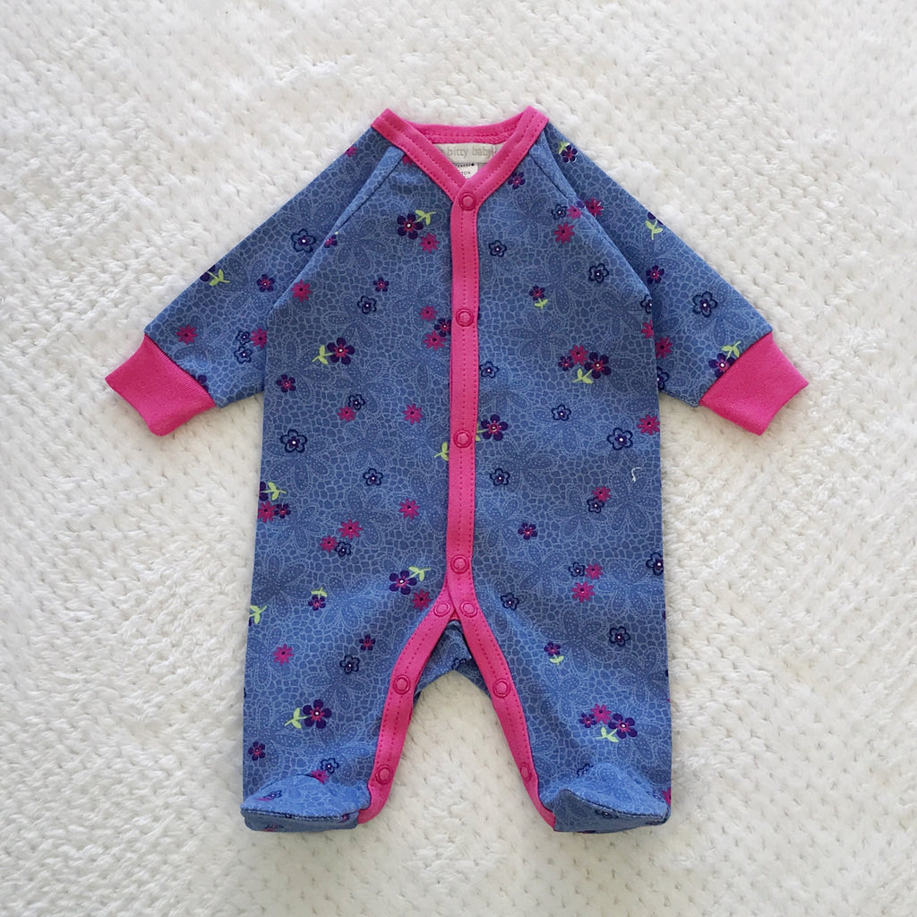 Periwinkle Daisy Snap Front Footie