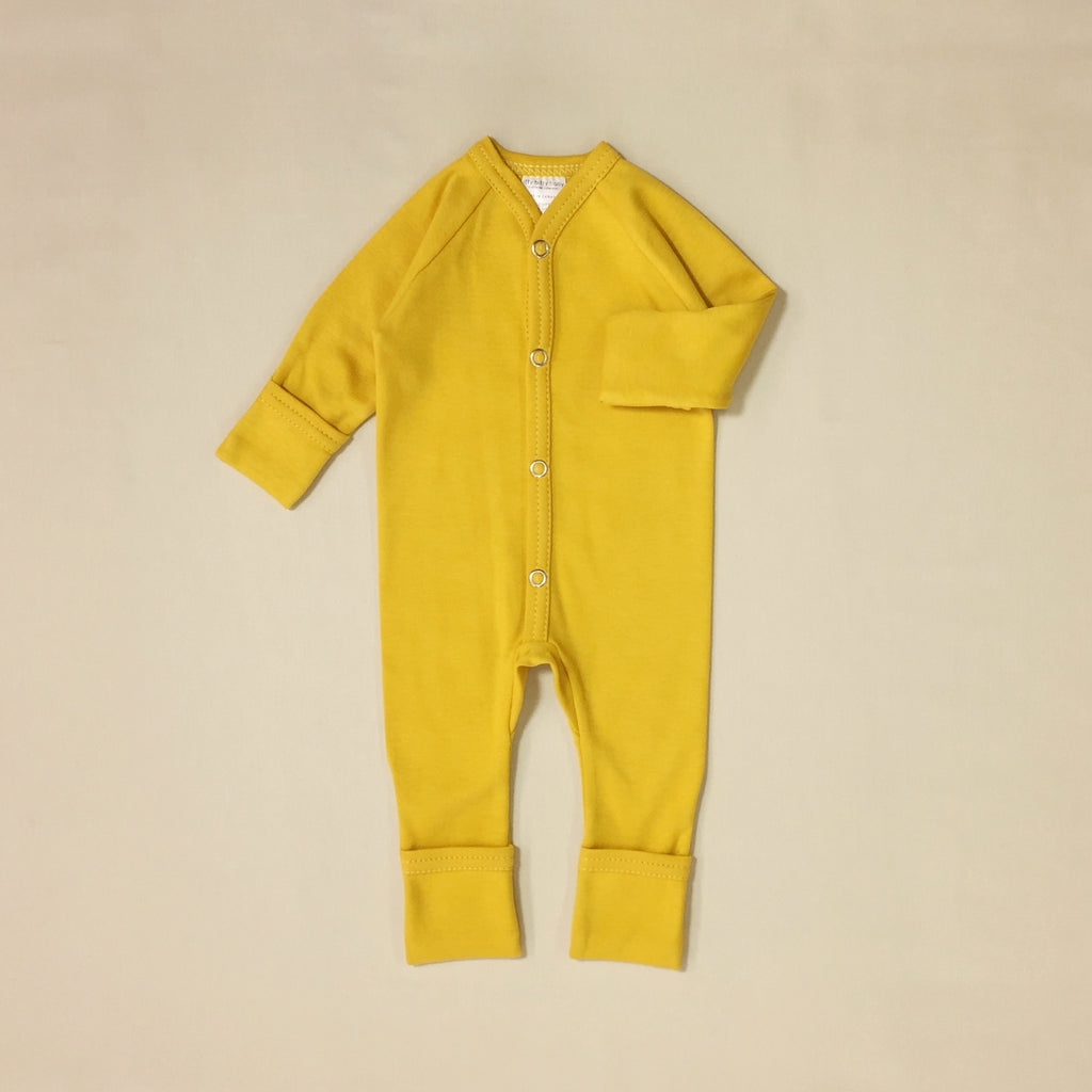 gold cotton minimalist baby playsuit