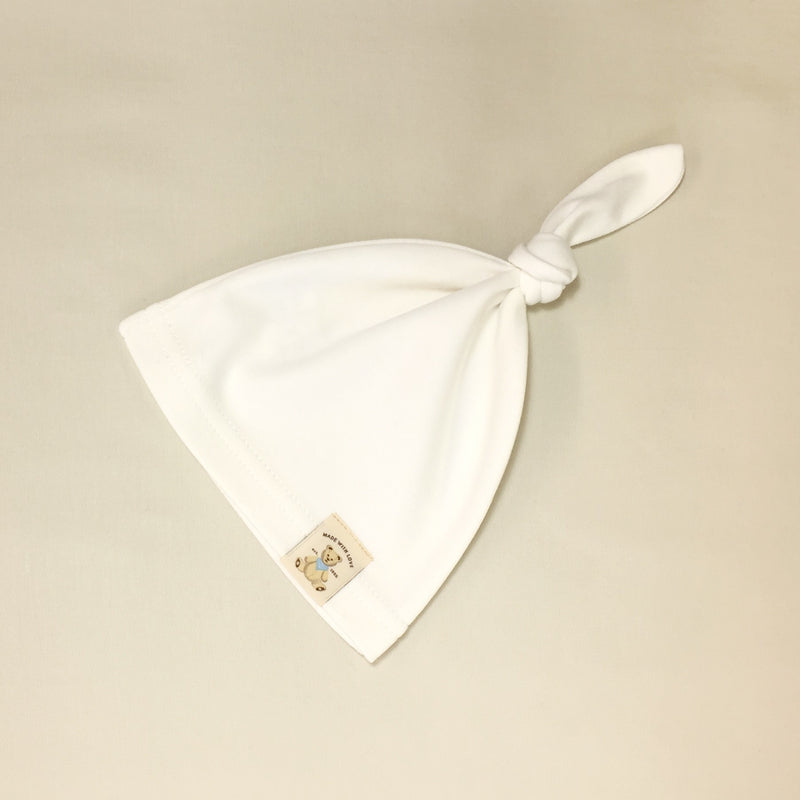 ivory cotton minimalist baby knot top hat